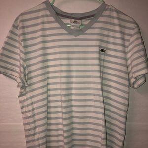Lacoste Striped V Neck T Shirt